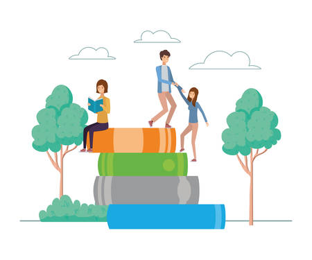 group of students reading books in the park vector illustration design