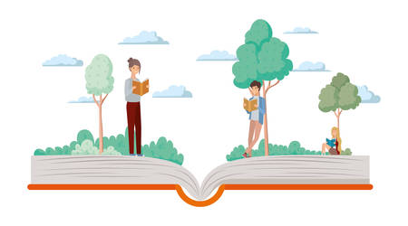 couple of students reading books vector illustration design