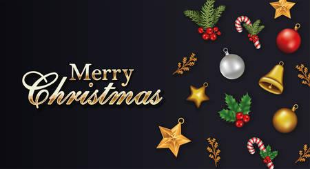 happy merry christmas letterings with set icons vector illustration design Ilustração