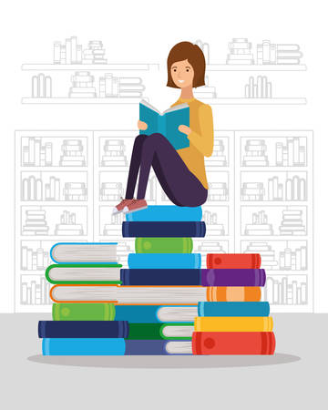woman student reading book character vector illustration design