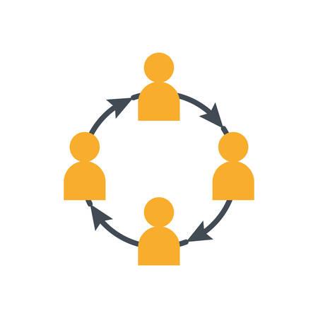 teamwork avatars silhouettes with arrows around vector illustration design