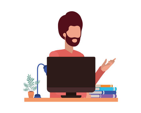 Avatar of a man with computer design, Boy male person people human social media and portrait theme Vector illustration Stock Illustratie