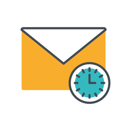 envelope mail with watch icon vector illustration design Illustration