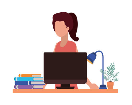 Avatar woman with computer design, Girl female person people human and social media theme Vector illustration