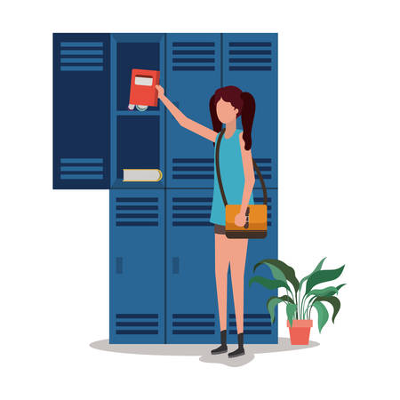School girl student design, Education lesson study learning classroom and information theme Vector illustration