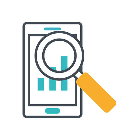 magnifying glass with smartphone icon vector illustration design