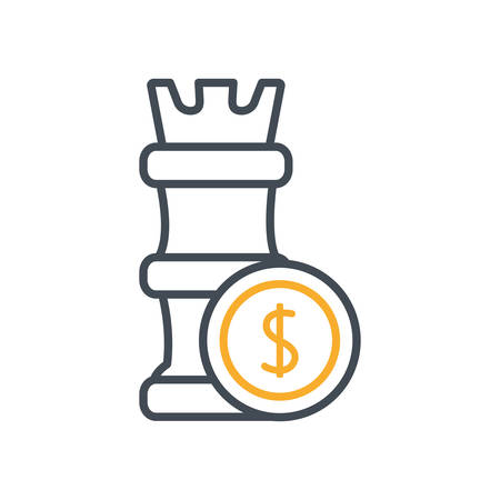 chess tower with coin money dollar vector illustration design