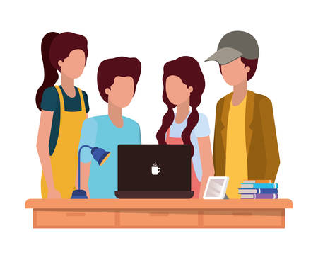 School students design, Education lesson study learning classroom and information theme Vector illustration
