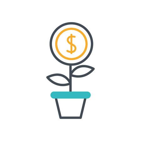 houseplant with coin money dollar vector illustration design Stock fotó - 134046592