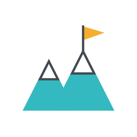 mountains with flag success icon vector illustration design