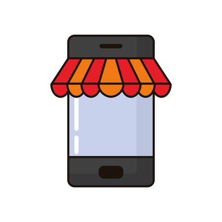 smartphone with shopping online app vector illustration design Illusztráció