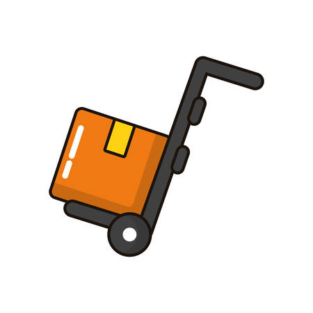 box carton delivery with cart vector illustration design Иллюстрация