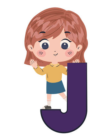 Girl cartoon with alphabet letter design, Kid childhood little people lifestyle and person theme Vector illustration