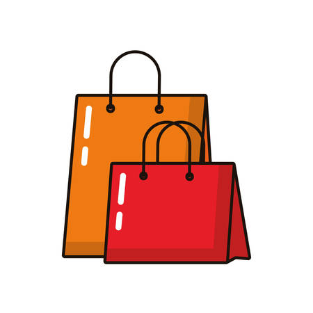 shopping bags paper isolated icons vector illustration design