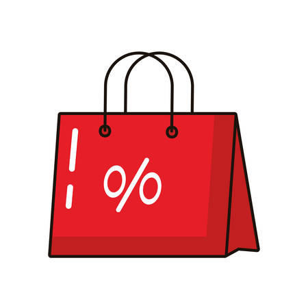 shopping bag paper with percent symbol vector illustration design