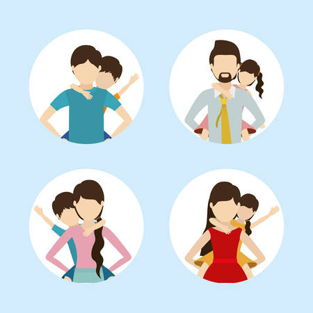 Set of fathers and mothers with sons design, Family relationship avatar lifestyle person and character theme Vector illustration