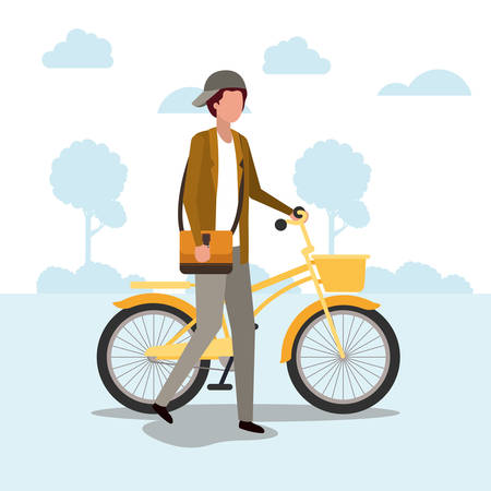 Student boy with bike design, Vehicle bicycle cycle lifestyle sport and transportation theme Vector illustration 일러스트