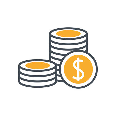 pile coins money dollar isolated icon vector illustration design Stock fotó - 134029523
