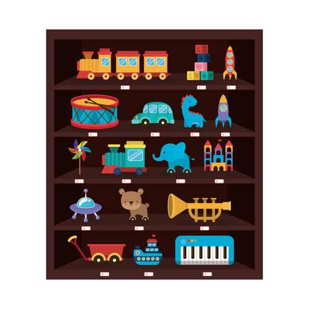 Variety of toys design, childhood play fun kid game gift and object theme Vector illustration Illusztráció