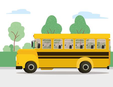 Projekt ikony autobusu, lekcja nauki transportu szkolnego pojazdu i klasy temat ilustracji wektorowych
