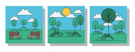 Park frames set design, Landscape nature outdoor beautiful season spring and summer theme Vector illustration