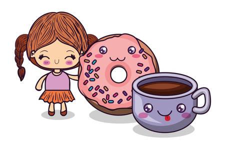 Conception de dessin animé fille, expression personnage mignon drôle et thème émoticône Illustration vectorielle