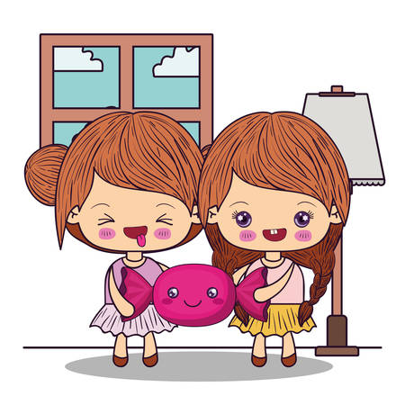 Girls cartoons design, expression cute character funny and emoticon theme Vector illustration