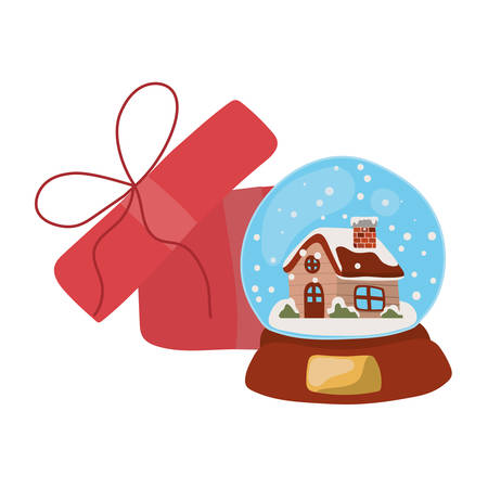 merry christmas crystal ball and gift decoration vector illustration design