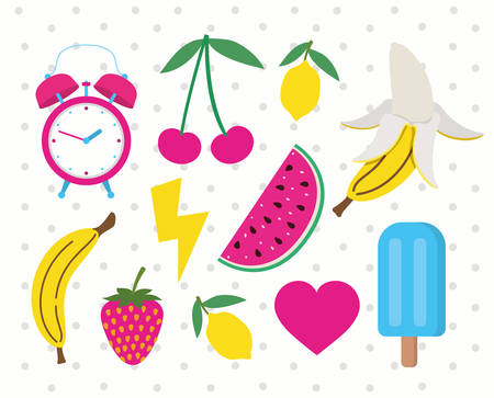 set of fruits and icons pop art style vector illustration design Ilustracja