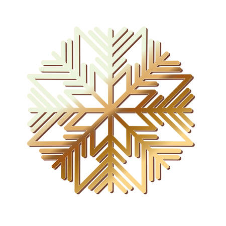 happy merry christmas snowflake gold vector illustration design