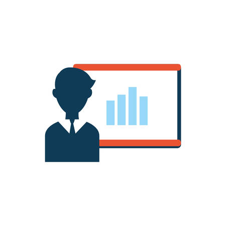 businessman with training paperboard and statistics vector illustration design