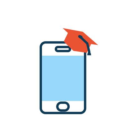 smartphone with graduation hat icon vector illustration design