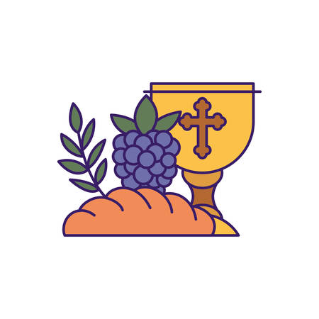 Cup bread and grapes design, religion christianity god faith spirituality belief pray and hope theme Vector illustration