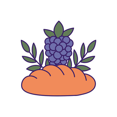 Bread and grapes design, religion christianity god faith spirituality belief pray and hope theme Vector illustration Vectores