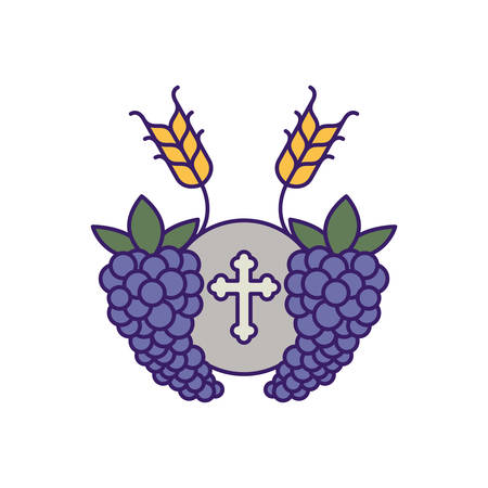 Communion wafer with grapes design, religion christianity god faith spirituality belief pray and hope theme Vector illustration