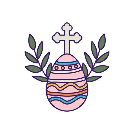 Diseño de cruz y huevo, religión cristianismo dios fe espiritualidad creencia rezar y esperar tema ilustración vectorial