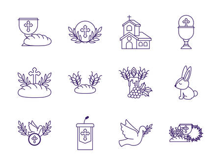 Icon set design, religion communion christianity god faith spirituality belief pray and hope theme Vector illustration