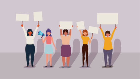 Women protesting design, Human rights peace freedom international help social law and equality theme Vector illustration