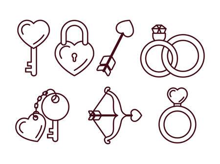 Love icon set design, Passion romantic valentines day wedding romance and decoration theme Vector illustration