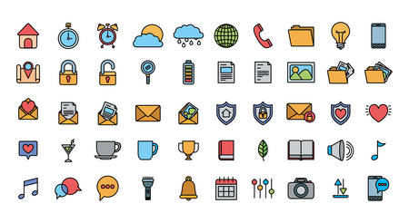 User interface and social media icon set, Multimedia apps communication digital marketing and internet theme Vector illustration