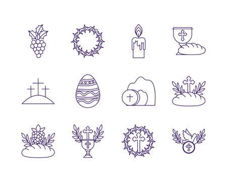 Icon set design, religion communion christianity god faith spirituality belief pray and hope theme Vector illustration