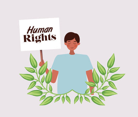 Man protesting design, Human rights peace freedom international help social law and equality theme Vector illustration