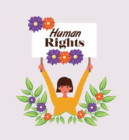 Woman protesting design, Human rights peace freedom international help social law and equality theme Vector illustration Ilustracja