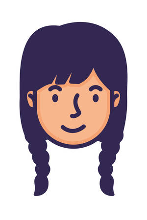 head woman face with hair braids character vector illustration design Stock Illustratie