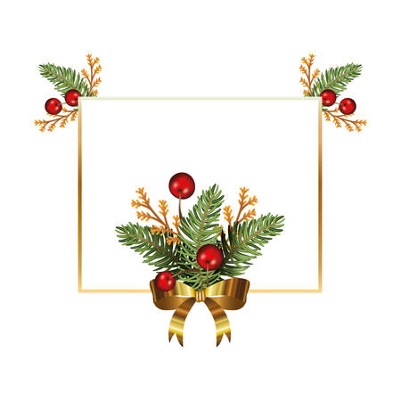 happy merry christmas tree branches and cherries frame vector illustration Ilustracja