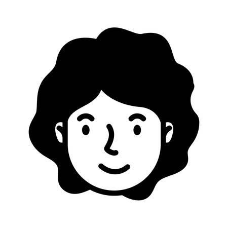 head woman face avatar character vector illustration design