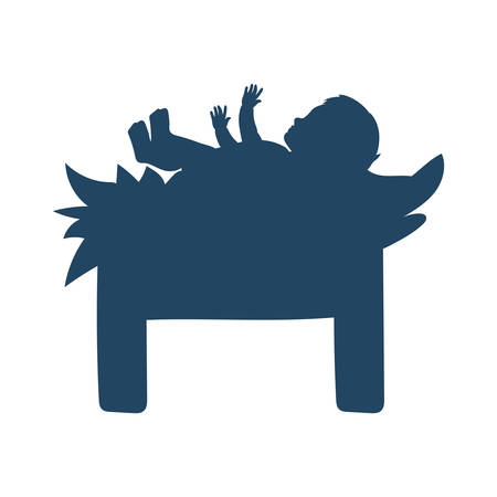 jesus christ baby in cradle manger character vector illustration design 向量圖像