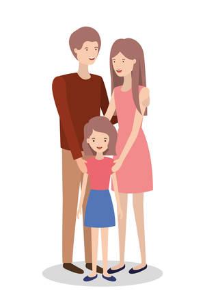 niedliche und glückliche Familienmitglieder Charaktere Vektor-Illustration Design