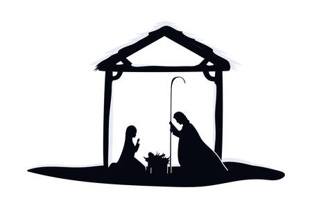 saint joseph and mary virgin in stable manger characters vector illustration
