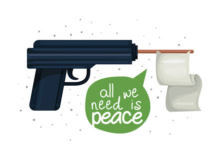 Gun design, Human rights peace freedom international help social law and equality theme Vector illustration